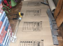 Sacks of Bostik floor leveling compound
