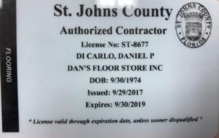 Dan's Floor Store - St. Johns County Contractor License - 2017 through 2019