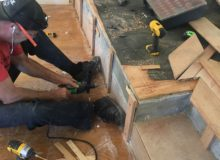 Preparing slab step for wood detail