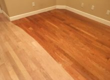 Applying finish to American Cherry flooring