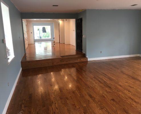 Applying finish to red oak flooring
