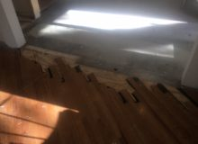 Prepping for weave-in repair of red oak flooring