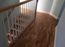 Repaired, sanded, and refinished white oak flooring and stairway