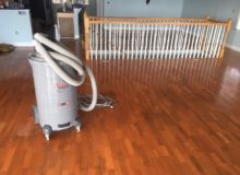 Water damaged white oak flooring, prior to refinishing