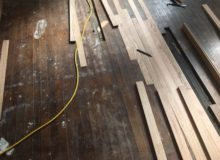 Weave-in repair of old Red Oak flooring