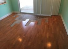 Weave-in repair of water damaged white oak flooring