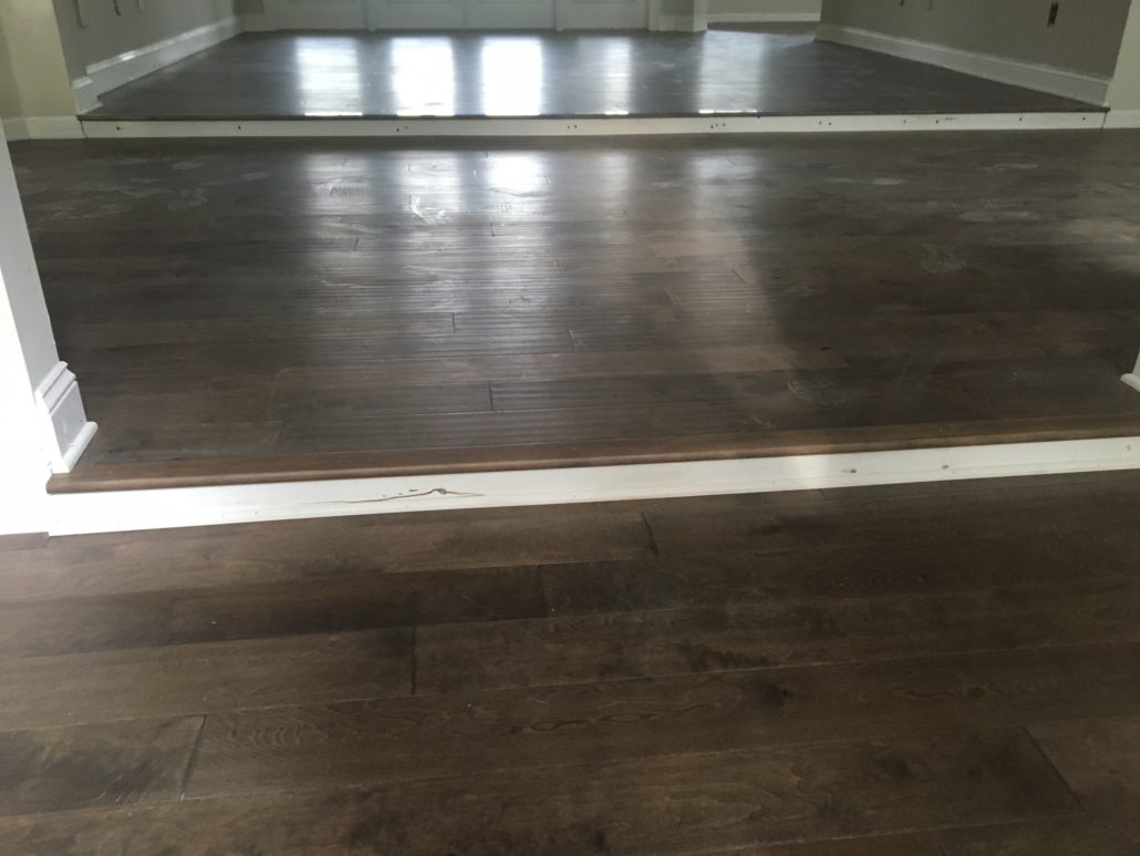 Hand scraped, engineered birch wood flooring
