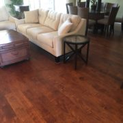 Installed handscraped prefinished birch wood flooring
