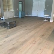 Engineered, wire brushed oak hardwood flooring