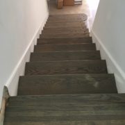 Refinished, grey stained, red oak stairs