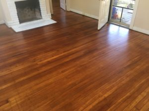 Refinished old heart pine wood floors