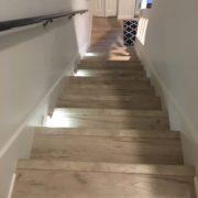 Laminate Oak flooring matches stairway