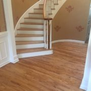 Refinished rotary peeled Red Oak flooring, staircase and rail