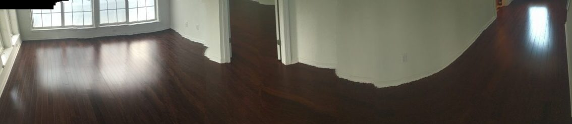 Brazilian Chestnut flooring installed - wide view