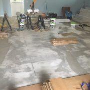 Dan's Floor Store crew flooring installation work station