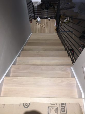 French Oak Hardwood Flooring Install with Matching Stairs