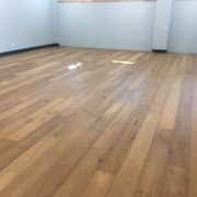 Wide white oak flooring installed