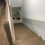 Match stained stair treads installed