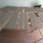 Match staining stair treads