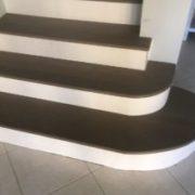Radius stair treads with custom risers