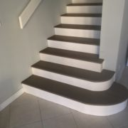 Radius stair treads with custom risers
