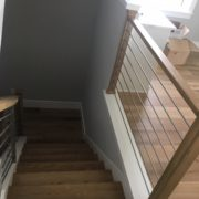 Stained and finished stair treads installed