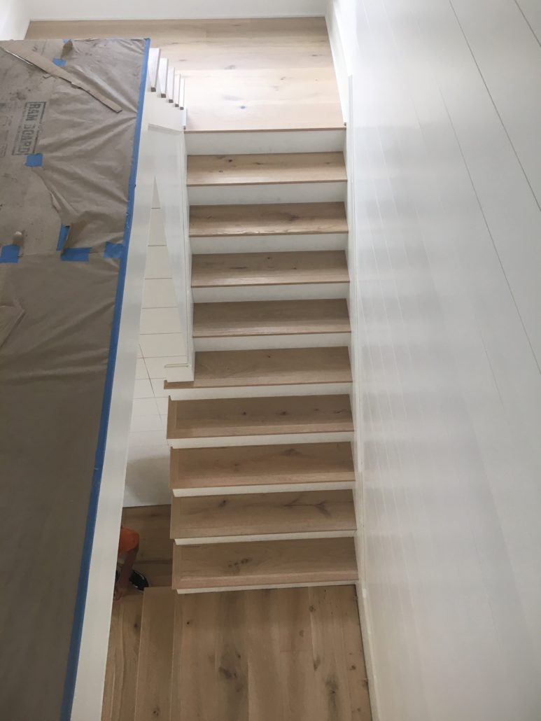 Engineered French Oak landing and stair treads