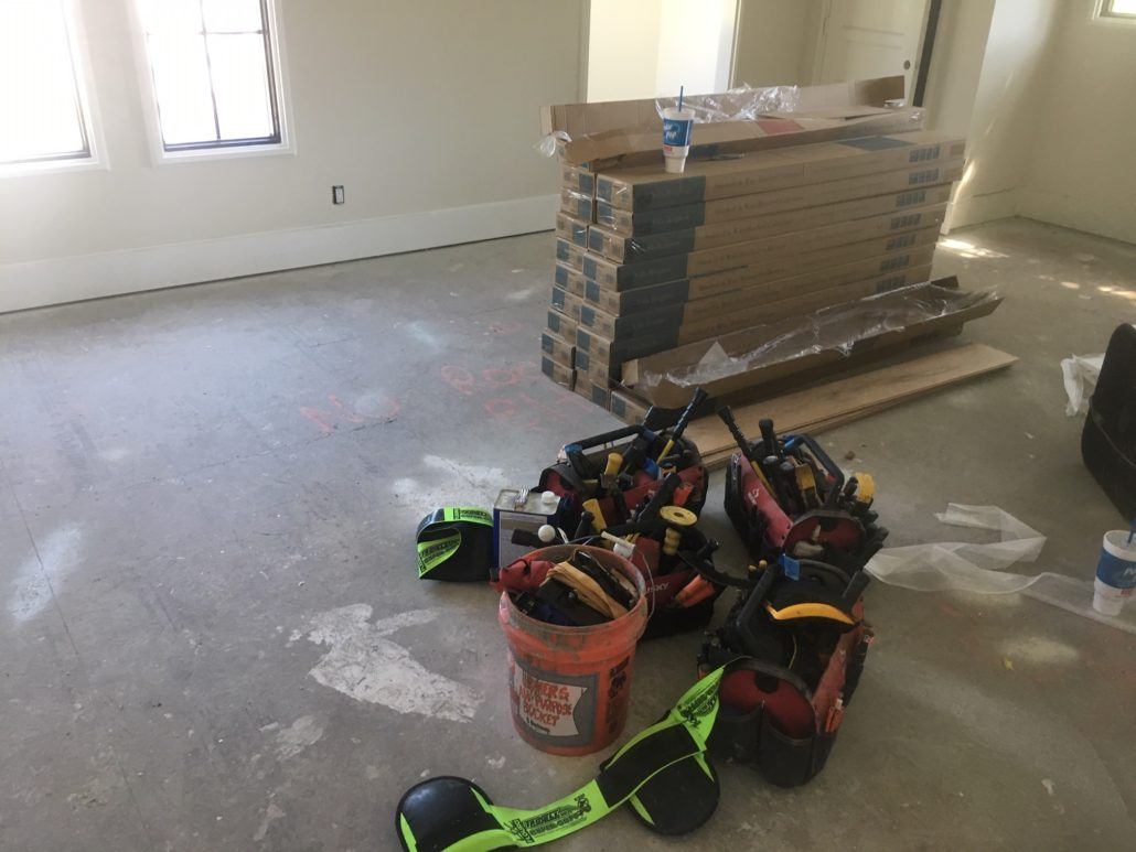 Equipment and material to start French Oak flooring installation