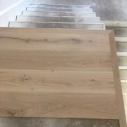 Starting installation of the French Oak flooring