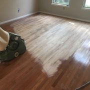 Sanding Red Oak wood floor with Lagler Hummel belt sander