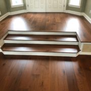 American Walnut flooring installed and new foyer steps
