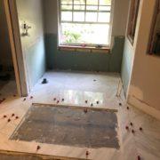 Installing porcelain floor tiles