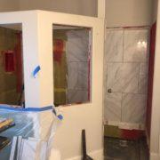 Installing porcelain wall tiles