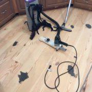 Hand edging sanding Heart Pine floor