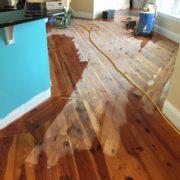 Sanding Heart Pine floor