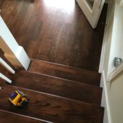 White Oak flooring, stained and finished to match stair treads