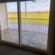 Leveling condo subfloors - view over patio.