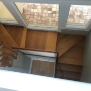 Overhead view of stairway to be sanded and hand scraped