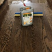 Applying Pallmann Power finish to Red Oak flooring.