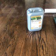 Applying Pallmann Power finish to Red Oak flooring.