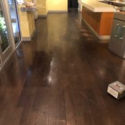 Bar wood floor - Matthew's Restaurant - before refinishing.