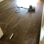 Buffing finished Red Oak hardwood flooring