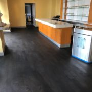 Ebony stained bar wood floor - Matthew's Restaurant