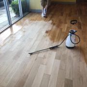 Popping bar wood floor - Matthew's Restaurant - after sanding