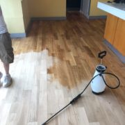 Popping bar wood floor - Matthew's Restaurant - after sanding
