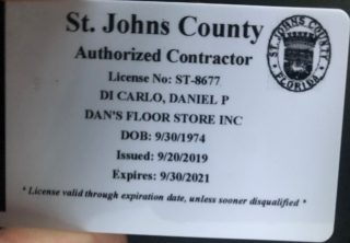 Dan's Floor Store - St. Johns County Contractor License - 2019 through 2021
