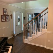 Stained, finished Red Oak floor and stair rail
