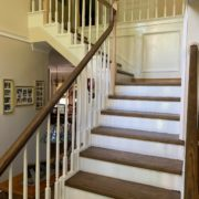 Stained, finished stair treads and rail