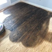 Buffied stained Southern Yellow Pine flooring