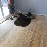 Buffing stained Southern Yellow Pine flooring